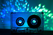 Cassette Tape Framed Prints - Transparent Cassette tape and disco light background Framed Print by Deyan Georgiev