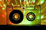 Cassette Tape Posters - Transparent Cassette tape disco lights background Poster by Deyan Georgiev