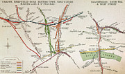 Old Town Drawings Framed Prints - Transport Map of London Framed Print by English School