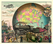 Antique Map Digital Art Posters - Transportation Poster by Gary Grayson
