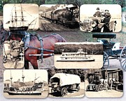 Coal Burner Posters - Transportation Past Collage Poster by Dave Custer