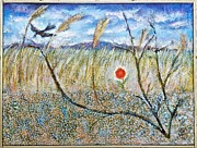 Peisaj Paintings - Transylvanian Landscape with Crow by Ion vincent DAnu