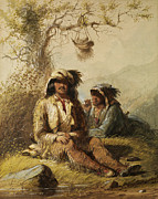 Mountain Men Prints - Trappers Print by Alfred Jacob Miller