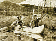 Mountain Men Prints - Trapping In The Adirondacks Print by Winslow Homer