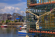 Lobster Traps Photos - Traps in Rockport HArbor by Joann Vitali