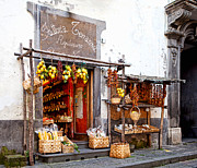 Baskets Prints - Tratorria in Italy Print by Susan  Schmitz