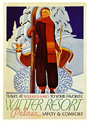 Skiing Poster Framed Prints - Travel At Reduced rates - Pullman Framed Print by Nomad Art And  Design