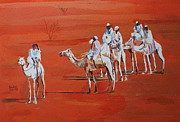 Mohamed Fadul Metal Prints - Travel by camels Metal Print by Mohamed Fadul