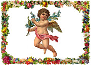 Christmas Greeting Prints - Traveling Angel Print by Munir Alawi