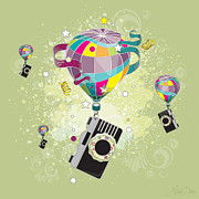 Flying Digital Art Prints - Traveling Camera  Print by Disko Galerie