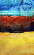Contemporary Abstract Mixed Media Prints - Traveling North Print by Linda Woods
