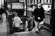Manhaten Prints - Travellers Exiting And Entering 34th Street Entrance To Penn Station Subway New York City Print by Joe Fox