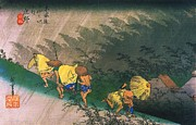 Hiroshige Prints - Travellers Surprised by Rain Print by Pg Reproductions