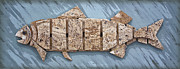 Featured Sculpture Framed Prints - Travertine Fish Framed Print by Walt Foegelle