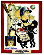 Cleveland Mixed Media Framed Prints - Travis Hafner Grand Slam Framed Print by Ray Tapajna