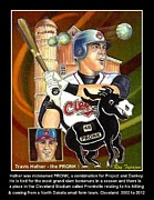 Slam Mixed Media Posters - Travis Hafner the PRONK Poster by Ray Tapajna