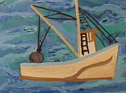 Stormy Weather Paintings - Trawler At Sea by Judy Dow