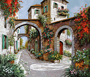 Village Painting Framed Prints - Tre Archi Framed Print by Guido Borelli