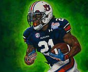National Drawings Framed Prints - Tre Mason Framed Print by Lance Curry