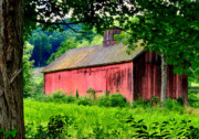 Red Barns Metal Prints - Treasure Hill Barn Metal Print by Thomas Schoeller