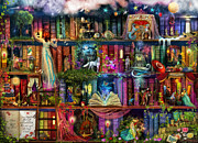 Multi Colored Digital Art - Treasure Hunt Book Shelf by Aimee Stewart