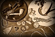 Gold Chain Metal Prints - Treasure Hunter -  Metal Detecting - black and white Metal Print by Paul Ward