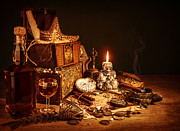 Wine Accessories Prints - Treasure still life Print by Anna Omelchenko
