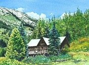 Mountain Cabin Painting Framed Prints - Treasured Memories Framed Print by Barbara Jewell