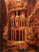 Jordan Painting Prints - Treasury of Petra Print by Tom Shropshire