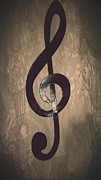 Musician Posters - Treble Clef - In The Studio Poster by Brian Howard