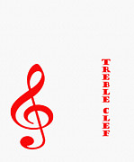 Violin Digital Art - Treble Clef - Music Symbol - Red by Barbara Griffin
