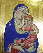 Egg Tempera Paintings - Trecento Madonna by Peter Murphy