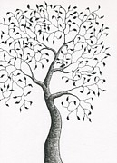 Fine Art Abstract Drawings Drawings Originals - Tree 1 - Quaint Yet Sturdy  by Chris Bishop