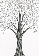 Fine Art Abstract Drawings Drawings Originals - Tree 12 - Reaching Out by Chris Bishop