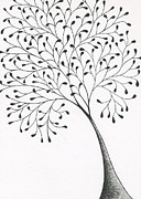 Fine Art Abstract Drawings Drawings Originals - Tree 2 - The Leaner by Chris Bishop