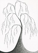 Fine Art Abstract Drawings Drawings Originals - Tree 3 - Melancholy by Chris Bishop