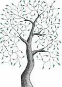Greens Drawings Framed Prints - Tree 31 - Quaint Yet Sturdy With Green Leaves Framed Print by Chris Bishop