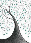 Greens Drawings Framed Prints - Tree 32 - Mystery With Green Leaves Framed Print by Chris Bishop