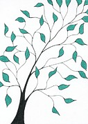 Greens Drawings Framed Prints - Tree 33 - Delicate Whimsy With Green Leaves Framed Print by Chris Bishop
