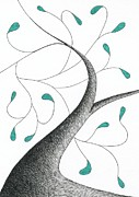 Greens Drawings Framed Prints - Tree 35 - The Wave With Green Leaves Framed Print by Chris Bishop