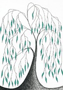 Greens Drawings Framed Prints - Tree 39 - Melancholy With Green Leaves Framed Print by Chris Bishop