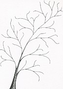 Fine Art Abstract Drawings Drawings Originals - Tree 8 - Delicate Whimsy by Chris Bishop