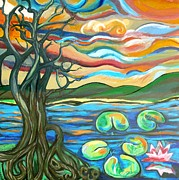 Tree Roots Painting Posters - Tree And Lilies At Sunrise Poster by Genevieve Esson