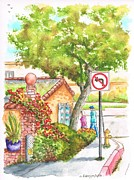 Bougainvilleas Prints - Tree and Not Turn To The Left sign in Laguna Beach - California Print by Carlos G Groppa