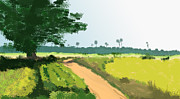 Village Digital Art Originals - Tree and Road by Ajay Mane
