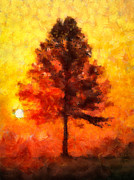 Glow Digital Art - Tree at Sunrise by Amy Cicconi