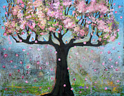 Mixed-media Paintings - Tree Blossoms and Robins by Blenda Tyvoll