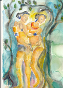 Embracing Painting Posters - Tree Embrace Poster by Maria Moscato