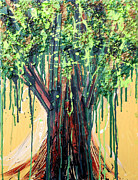 Drips Painting Prints - Tree Grit Print by Genevieve Esson