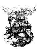 Steampunk Drawings - Tree House by Jamie Stone